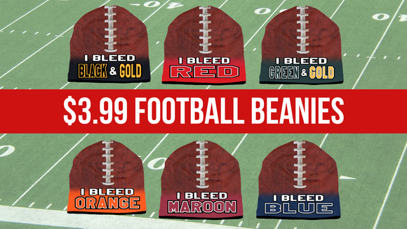 Wear your state pride while staying warm this season with Brief Insanity's football beanies. On sale today for ONLY $3.99! The high-performance beanie is made of a lightweight and breathable polar fleece material.