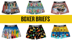 Unisex boxers from Brief Insanity. The innovative material used to create each product is a specialized polyester blend that mimics the temperature of your body. The light-weight and breathable material provides all-day comfort while wearing.