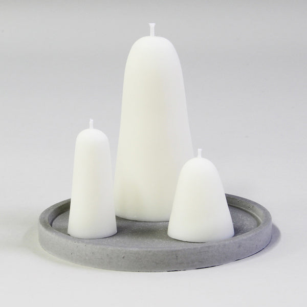 White Sugarloaf Candles with Tray -- SOLD OUT