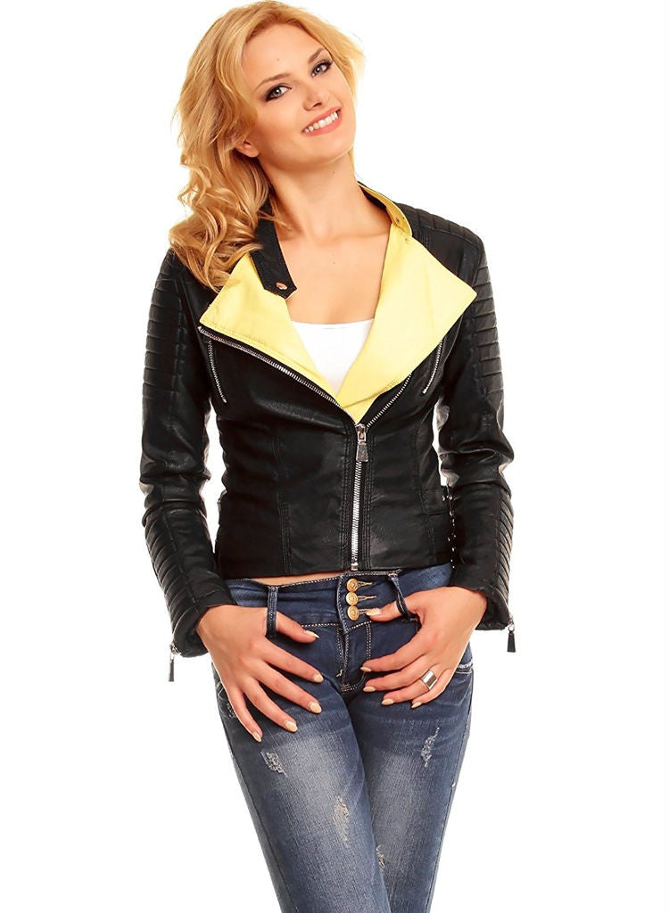 Stylish Ladies Black Leather Look Biker goth Jacket. -  Urban Direct Women's clothing