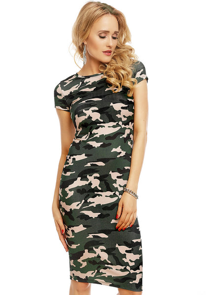 Feminine stretchy camouflage cap sleeved body-con Midi dress -  Urban Direct Women's clothing