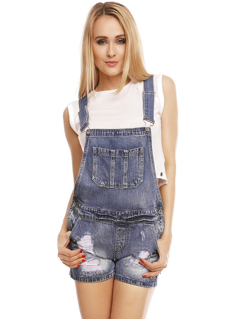 Women's Blue relaxed fit distressed ripped jean Dungarees -  Urban Direct Women's clothing