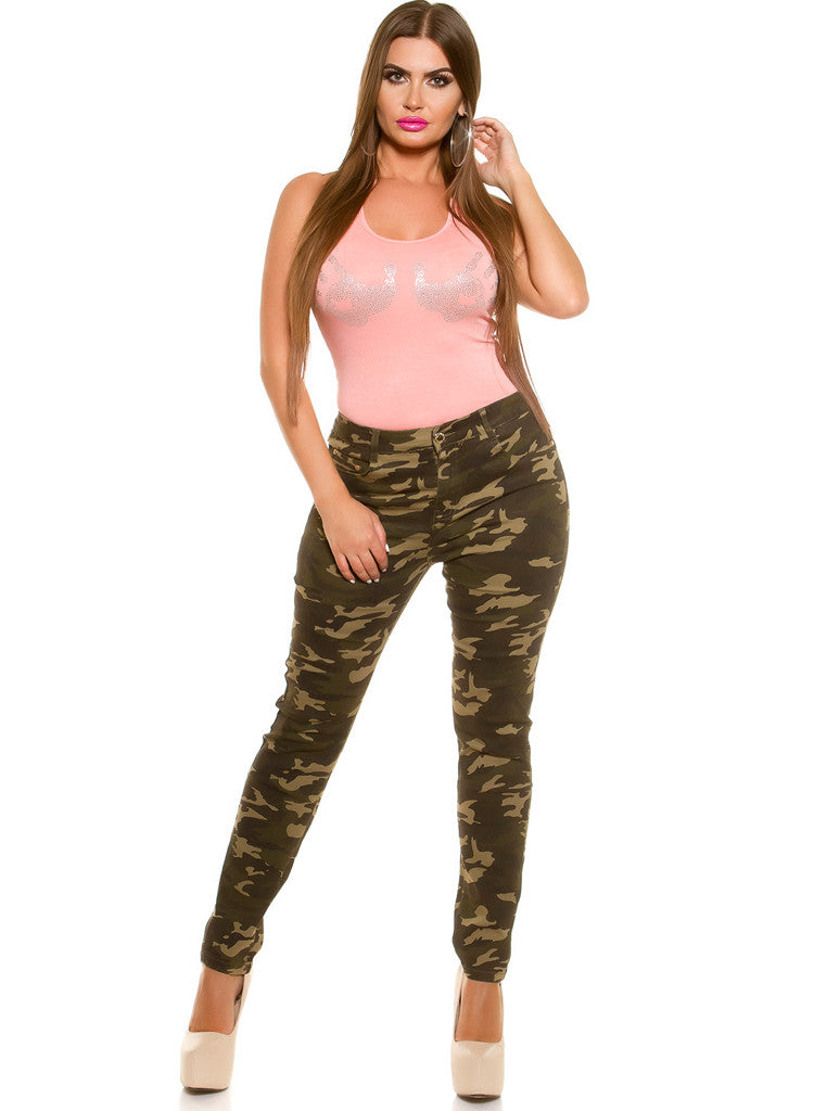 Curvy Girls Womens Plus size Camouflage Stretchy Trousers jeans -  Urban Direct Women's clothing