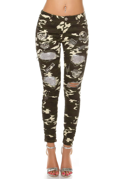 Women's Girls Stylish Ladies lightweight skinny distressed camouflage Trousers -  Urban Direct Women's clothing