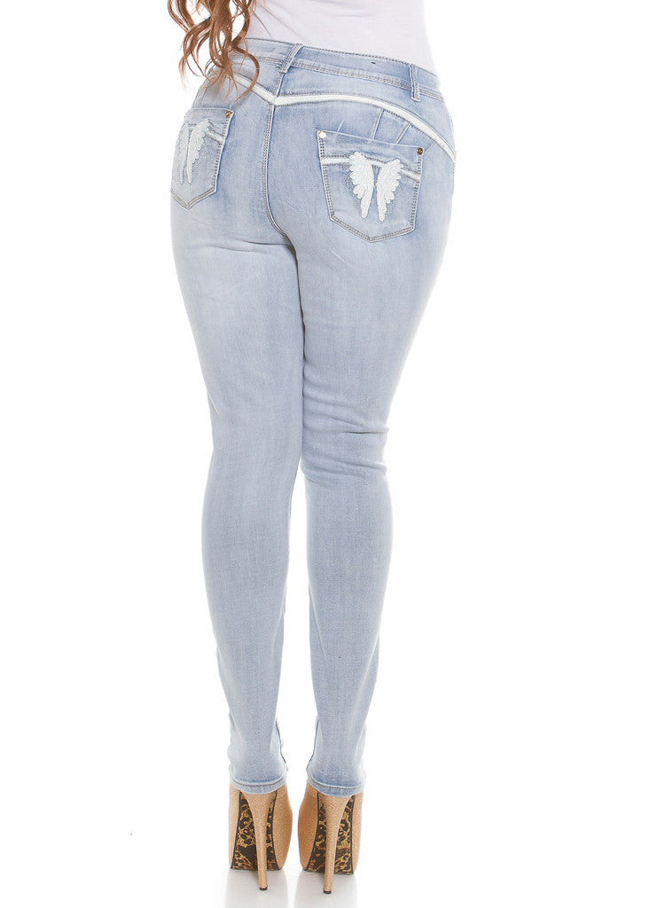 Curvy Girl Blue skinny jeans with embroidered angel wings rear pocket design. -  Urban Direct Women's clothing