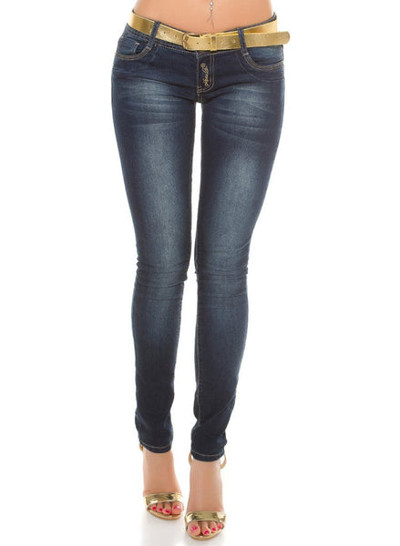 Women's dark blue skinny jeans with gold chain detailing + matching gold Belt. -  Urban Direct Women's clothing