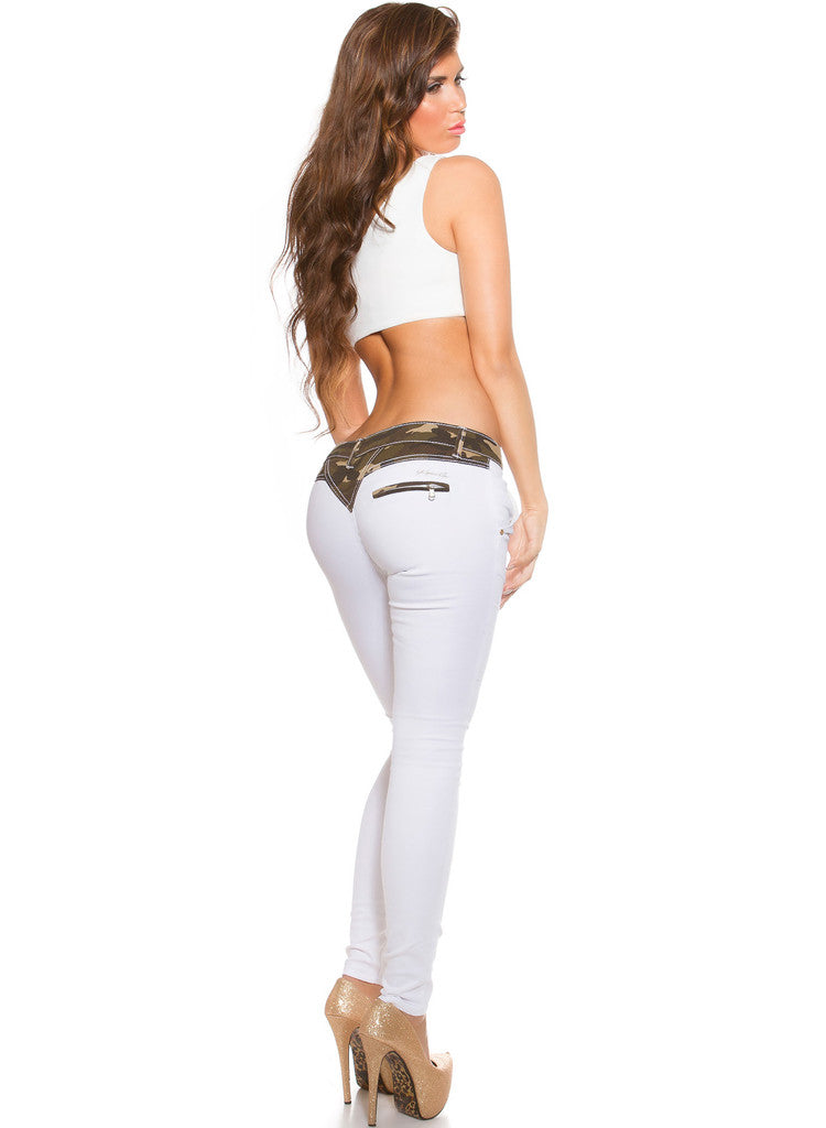 White stylish skinny jeans trousers with Camouflage trim -  Urban Direct Women's clothing