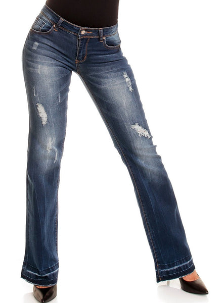Dark Blue denim Hipster bootcut Jeans with Vintage look -  Urban Direct Women's clothing