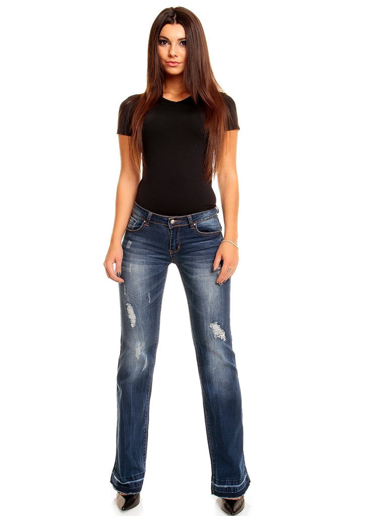 e716a0808158d ... Dark Blue denim Hipster bootcut Jeans with Vintage look - Urban Direct  Women s clothing ...