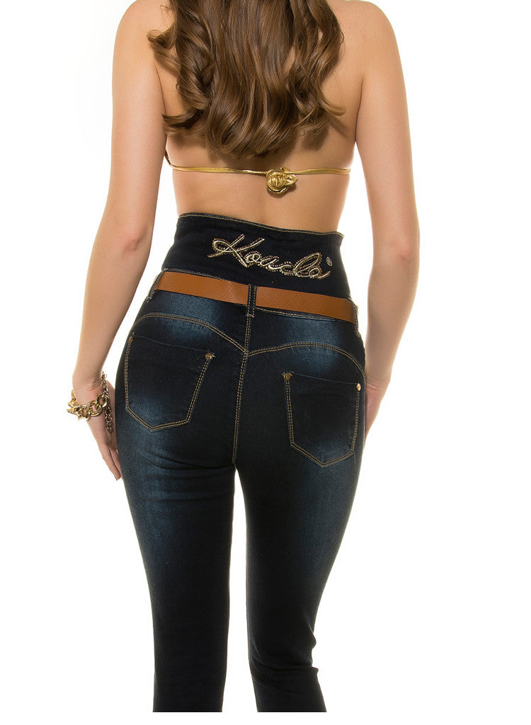 Blue High waist slim skinny Stretchy Jeans Trousers  + Belt -  Urban Direct Women's clothing