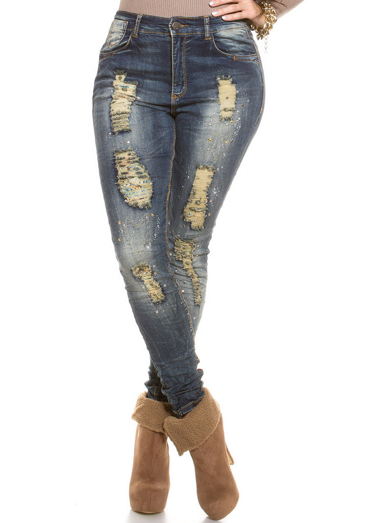 e6beb7dde0b Curvy Girl Plus size ripped distressed worn look Skinny jeans - Urban  Direct Women s clothing ...