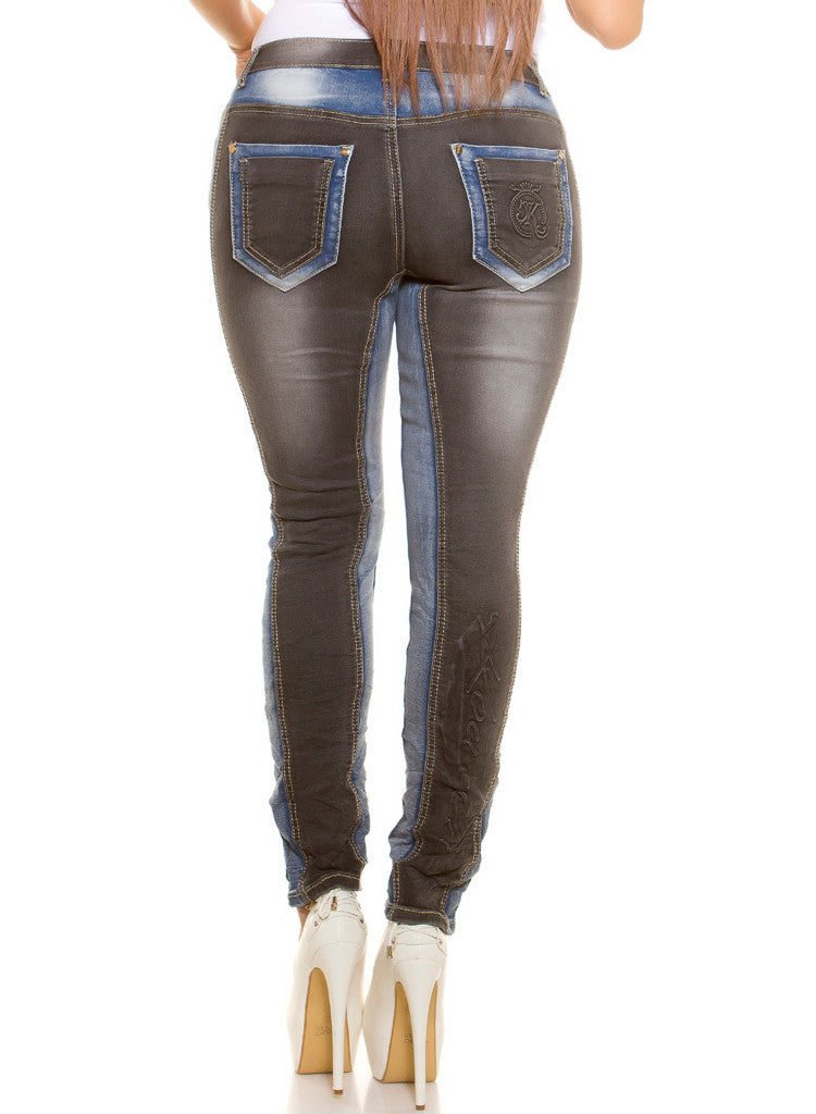 Curvy Girl plus size contrasting Blue and Black Stretchy skinny jeans -  Urban Direct Women's clothing