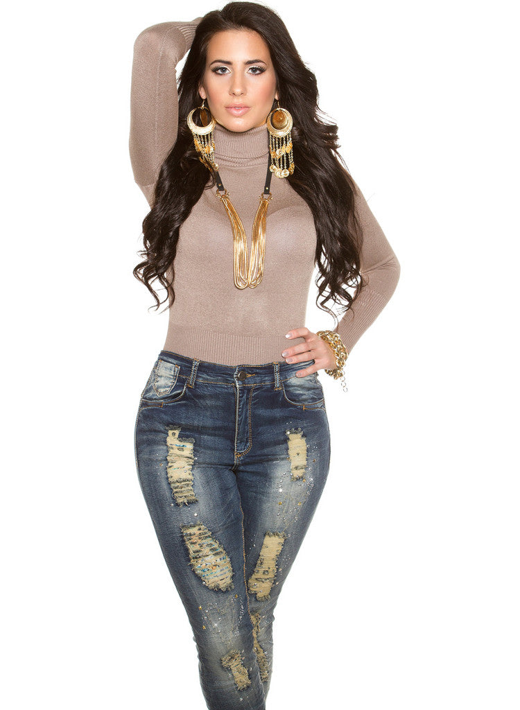 Curvy Girl Plus size ripped distressed worn look Skinny jeans -  Urban Direct Women's clothing