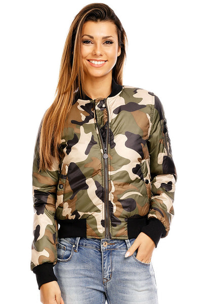 Women's Girls Army style casual Camouflage zip bomber jacket. -  Urban Direct Women's clothing