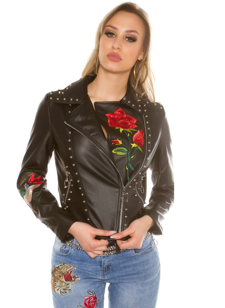 Women's Stylish Limited Edition Leather look Biker Goth style jacket -  Urban Direct Women's clothing