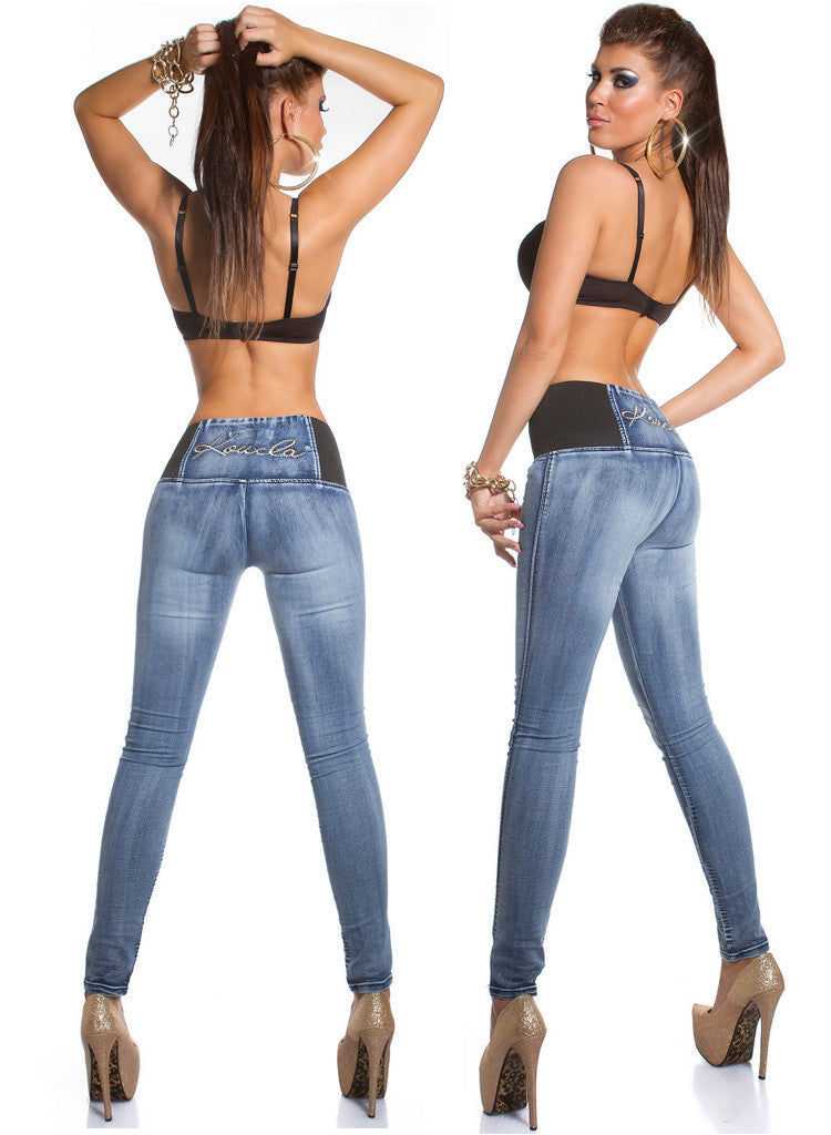 Women's stretchy Elasticated High waisted Skinny jeans -  Urban Direct Women's clothing