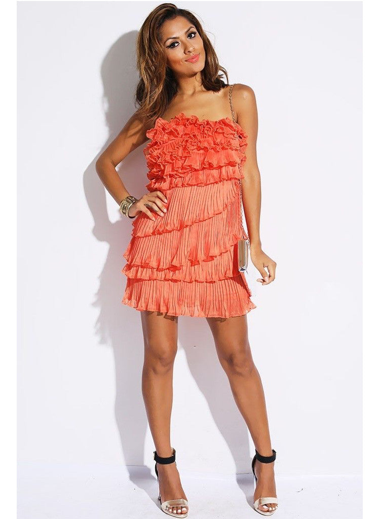Coral Pink Pleated Chiffon Ruffle Party Mini Dress -  Urban Direct Women's clothing
