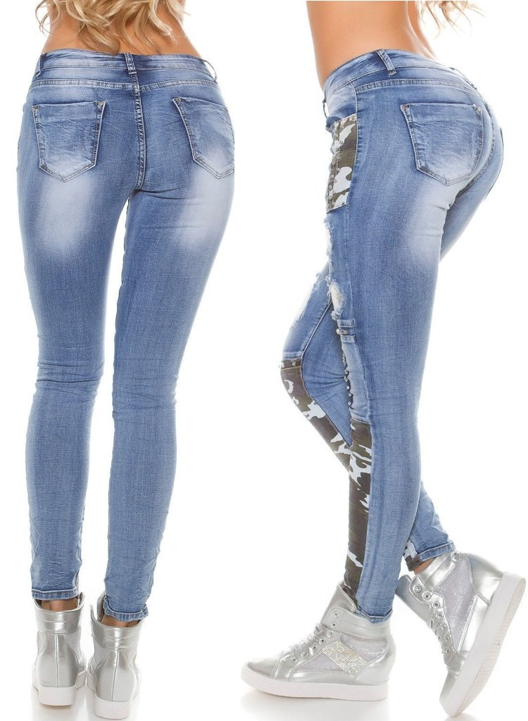 Women's Light blue distressed Skinny Jeans with camouflage trim and silver studs -  Urban Direct Women's clothing