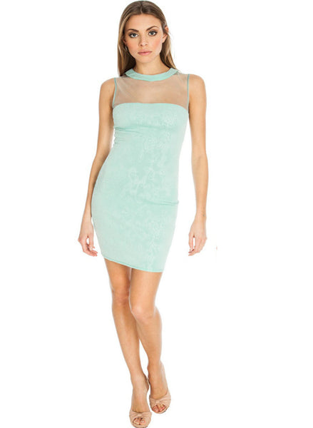 Jade Green sleeveless mini dress with mesh panel
