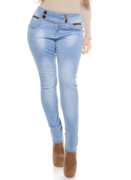 Women's Curvy Girl elasticated waist Stretchy blue Skinny jeans -  Urban Direct Women's clothing
