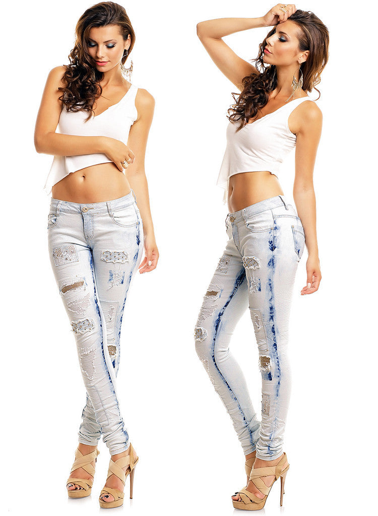 Women's Lightweight Denim Ripped Distressed Skinny Jeans -  Urban Direct Women's clothing