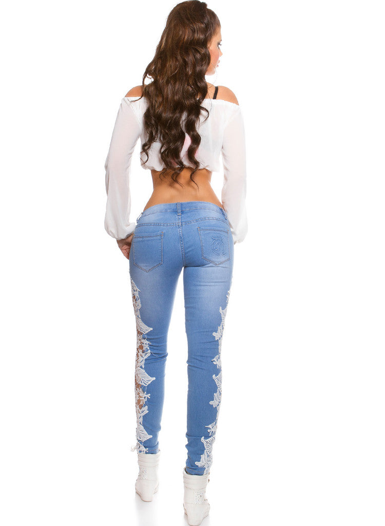 Feminine stylish Light Blue Slim Skinny jeans with lace Inserts -  Urban Direct Women's clothing