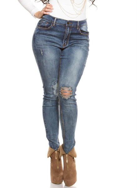 Sexy Curvy Girls Womens Plus size distressed ripped worn look Skinny jeans -  Urban Direct Women's clothing