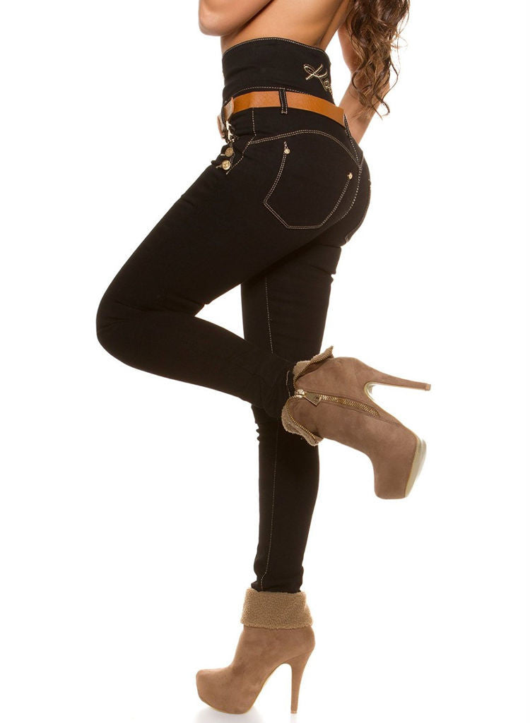 High waist Black slim skinny Jeans Trousers + Belt -  Urban Direct Women's clothing