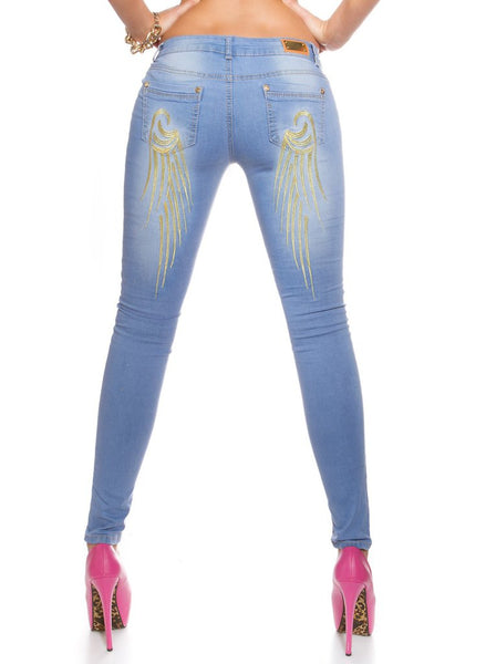 Women's Blue slim skinny jeans with Embroidered Angel wings rear design -  Urban Direct Women's clothing