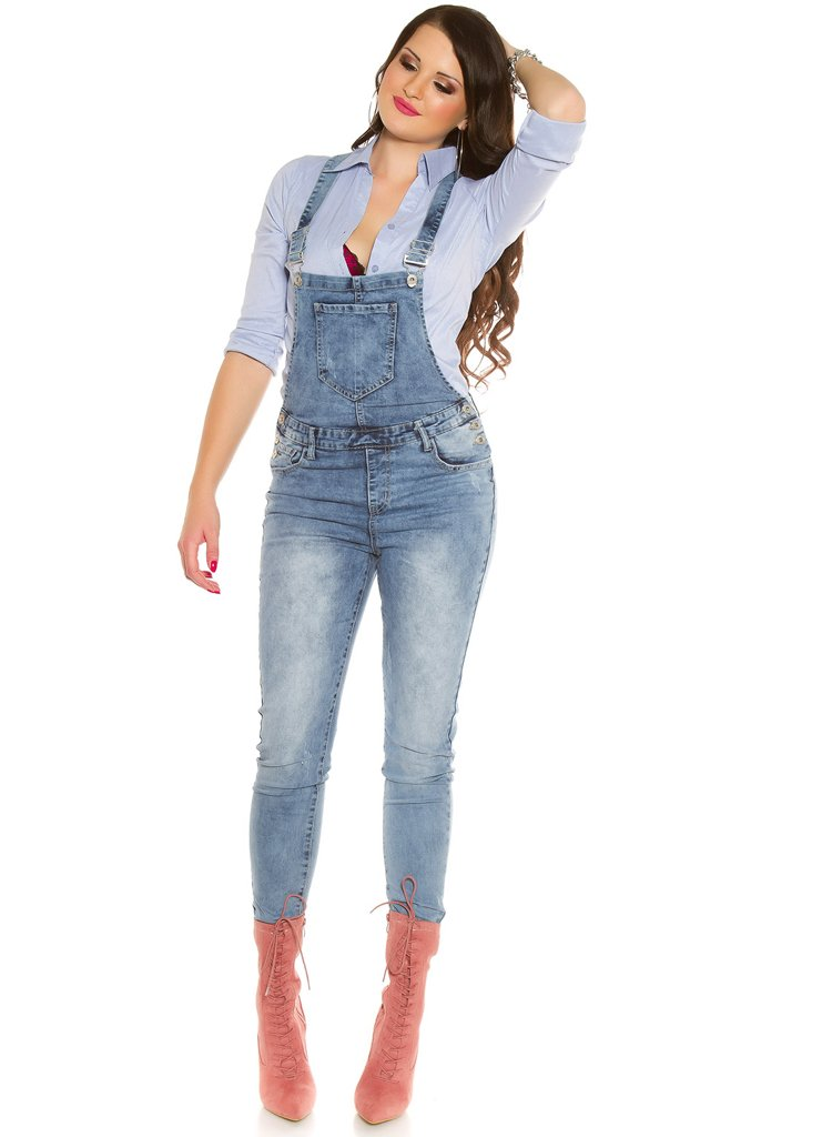 Sexy Curvy Girl Plus size Women's Blue denim faded Dungarees -  Urban Direct Women's clothing