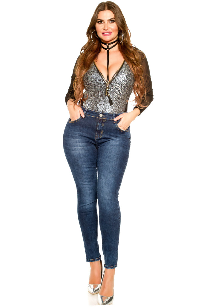 Sexy Curvy Girl Plus size jeans with Silver butterfly and zip decorations.
