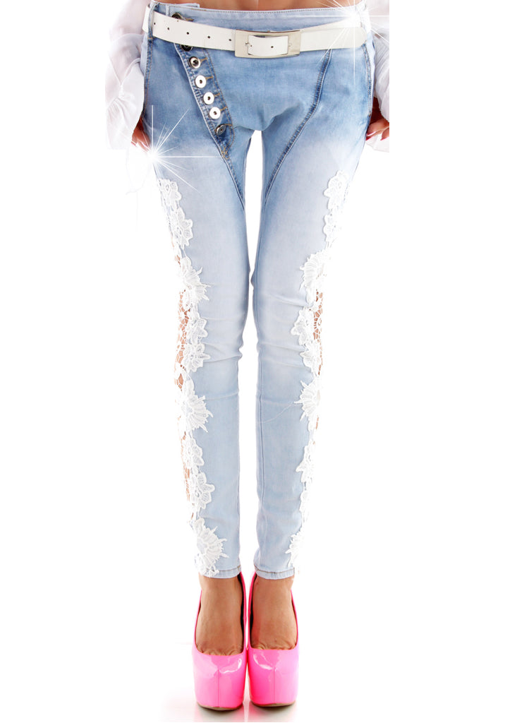 Women's Blue Jeans Boyfriend relaxed fit with crochet Lace sides.