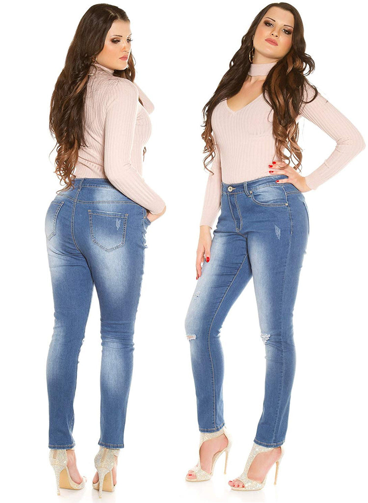 Simple Curvy Girl distressed ripped look blue Skinny jeans