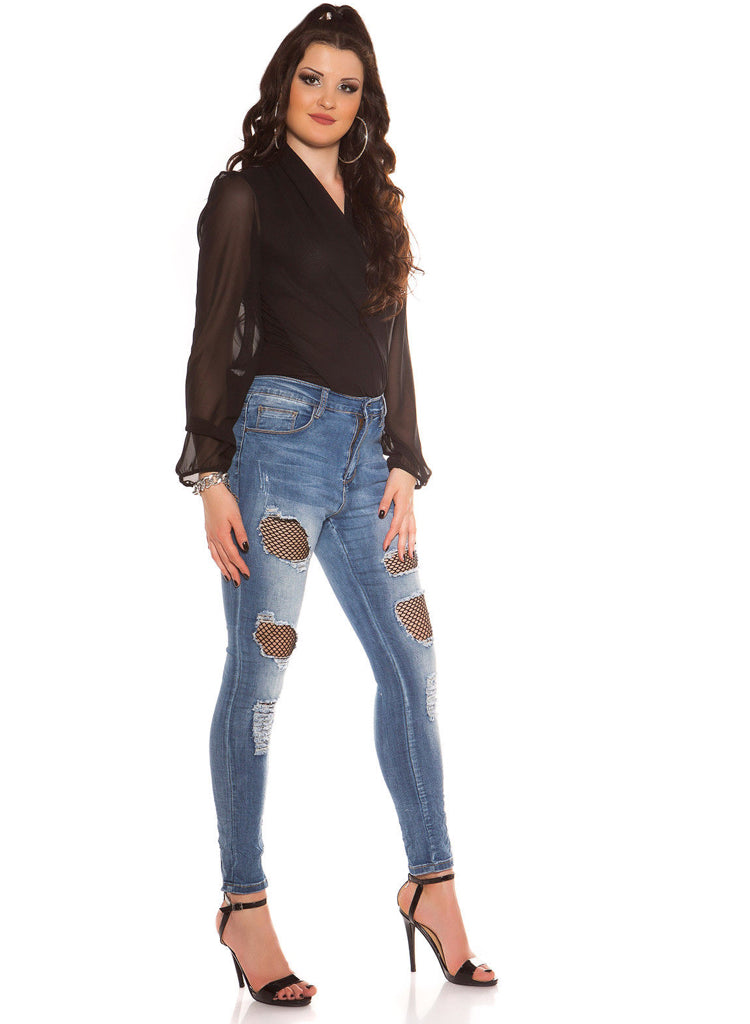 c4c7b676a40 Sexy Curvy Girl Plus size ripped Skinny jeans with Black net inserts.
