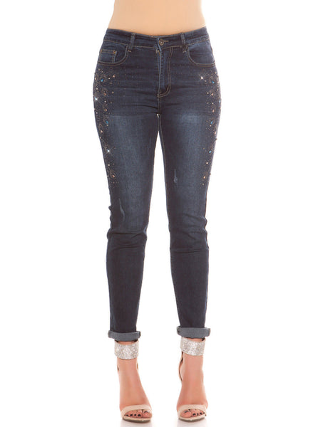 Curvy Girls Plus Size dark blue Skinny Jeans with Decoration on Legs