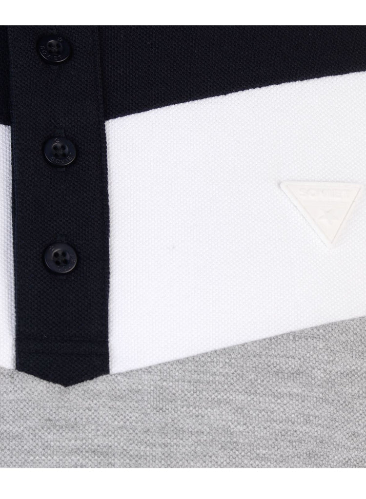 Mens Stylish SOVIET grey, white and blue panelled designer Polo shirt