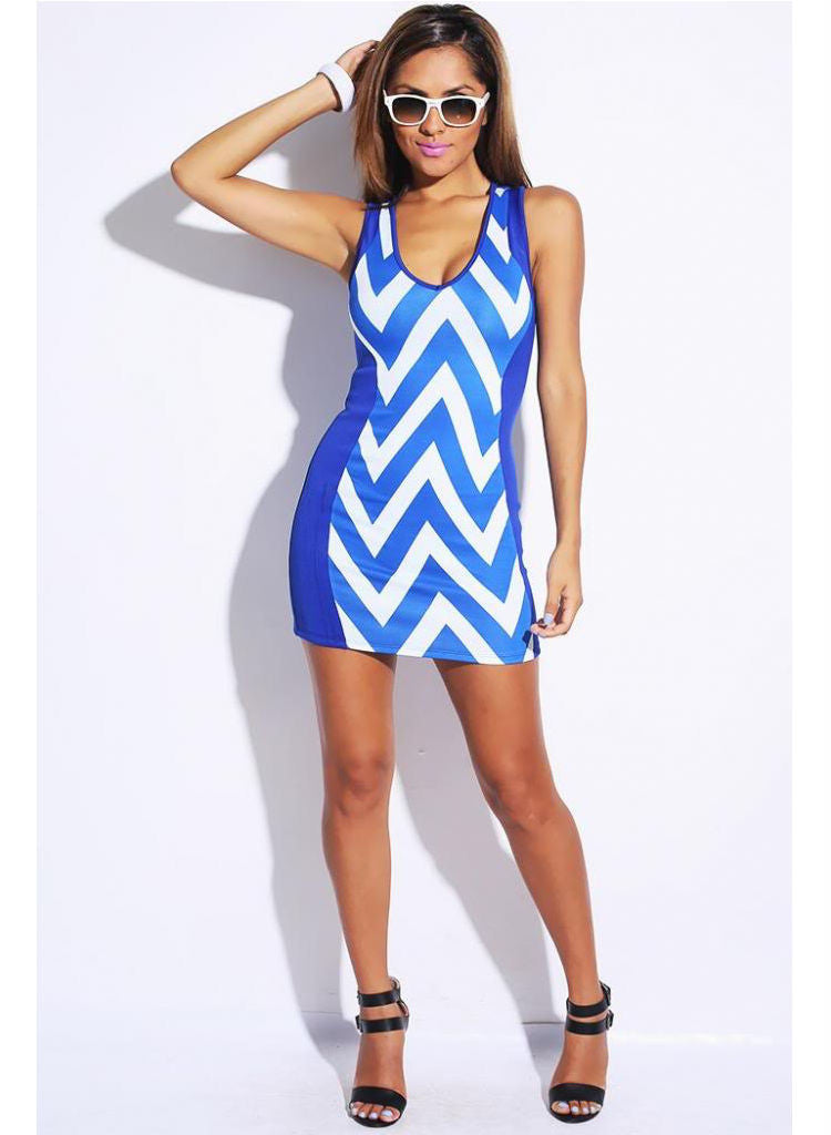 Blue Chevron clubbing party stretch mini dress -  Urban Direct Women's clothing