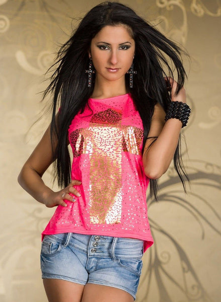 Women's Gothic Cross Neon Pink Loose fit T-Shirt - size UK 10/12 -  Urban Direct Women's clothing