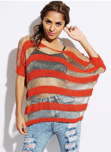 Feminine Oversized Red & Gold metallic thread Jumper. S/M fits UK 8/10 -  Urban Direct Women's clothing
