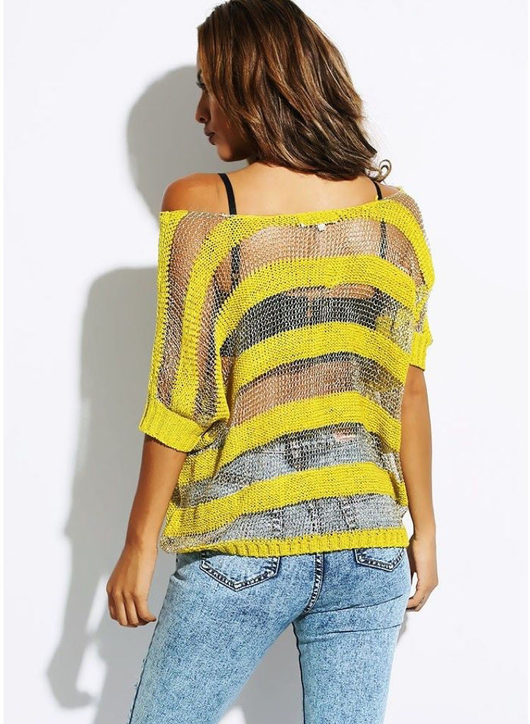 Citrus Lime & Gold oversized metallic thread Jumper. S/M fits UK 8/10 -  Urban Direct Women's clothing