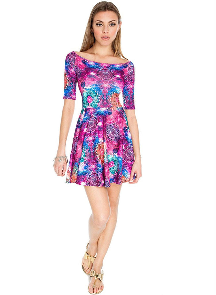 Multi-coloured Skater style Evening Party Mini dress -  Urban Direct Women's clothing