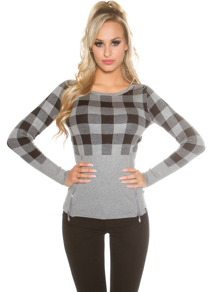 Feminine stylish Grey checked knitwear Jumper top. size fits UK 8/10 -  Urban Direct Women's clothing