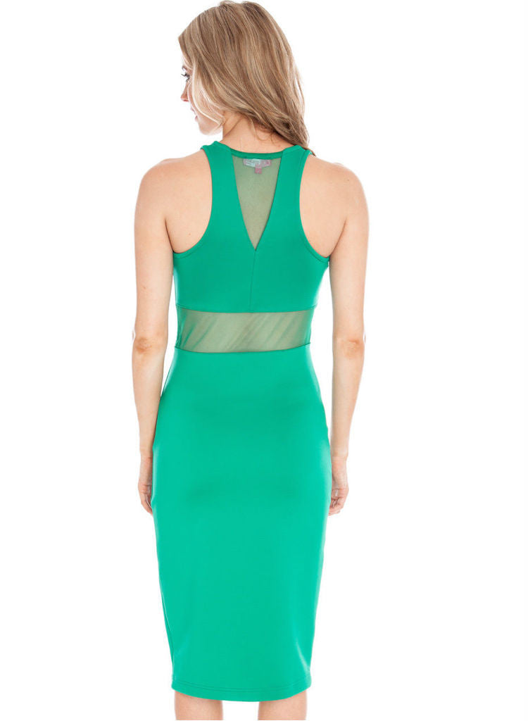 Sexy Green Mesh insert casual sports maxi dress -  Urban Direct Women's clothing