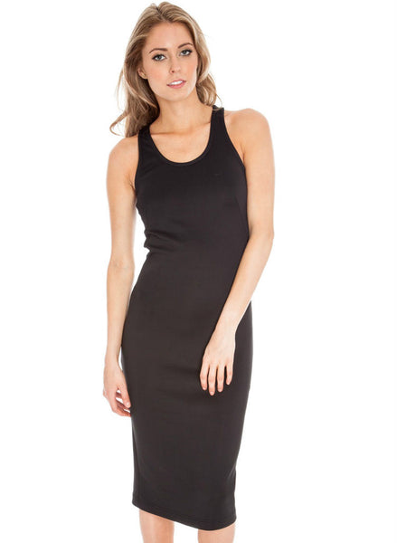 Black Mesh insert casual sports maxi dress -  Urban Direct Women's clothing