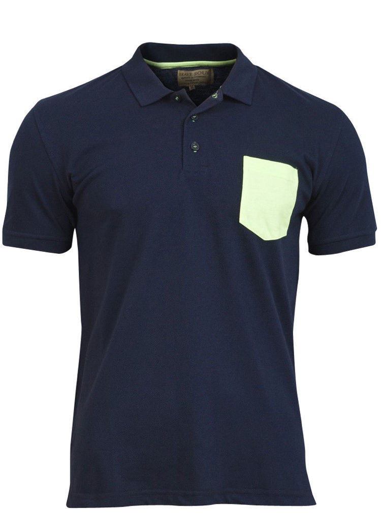 Mens Plain Blue Cotton Short Sleeved Polo Shirt top with Neon print pocket -  Urban Direct Women's clothing