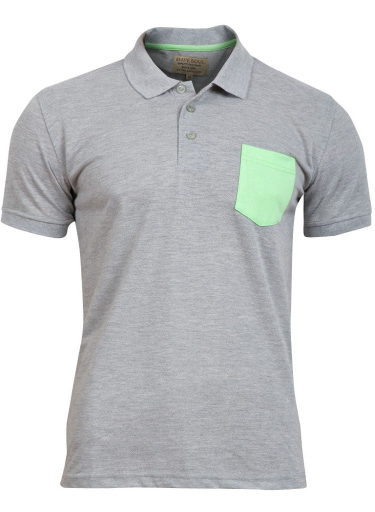 Mens Plain Grey Cotton Short Sleeved Polo Shirt top with Neon print pocket -  Urban Direct Women's clothing