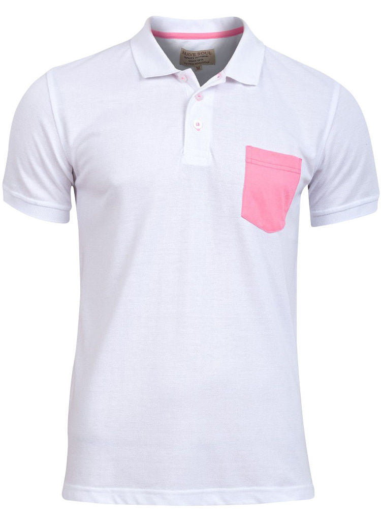 Mens Plain White Cotton Short Sleeved Polo Shirt top with Neon print pocket -  Urban Direct Women's clothing
