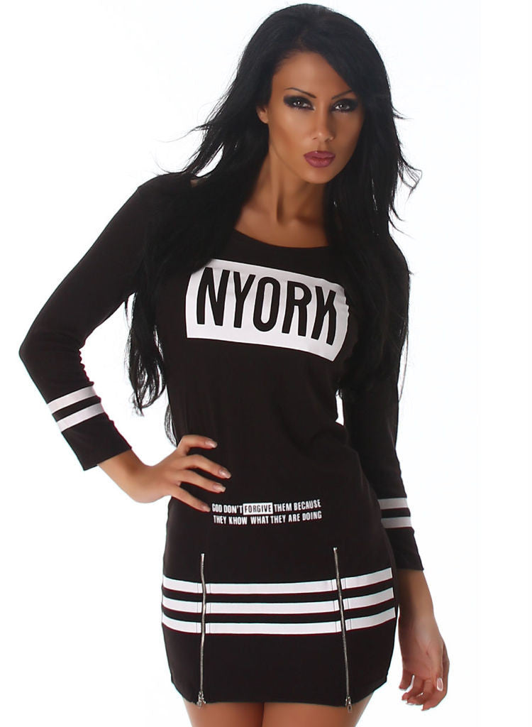 Stretchy Black body-con club or casual wear mini Dress in Black with Motif -  Urban Direct Women's clothing