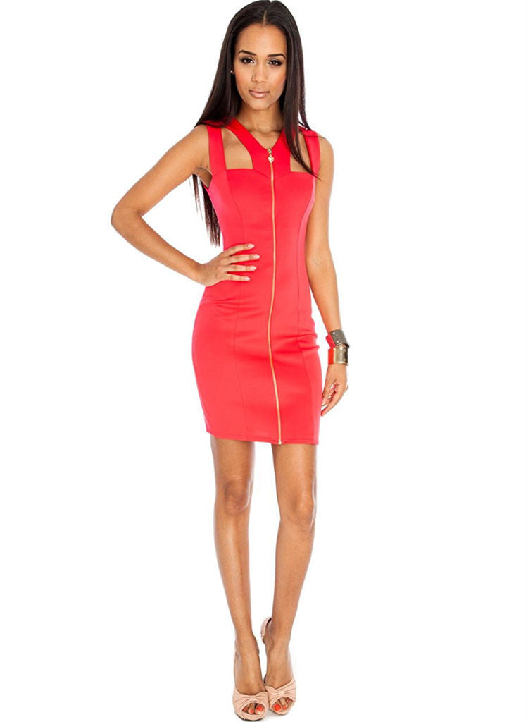 Red mini Dress with Heart Zip and cut outs, Goth punk styled. -  Urban Direct Women's clothing