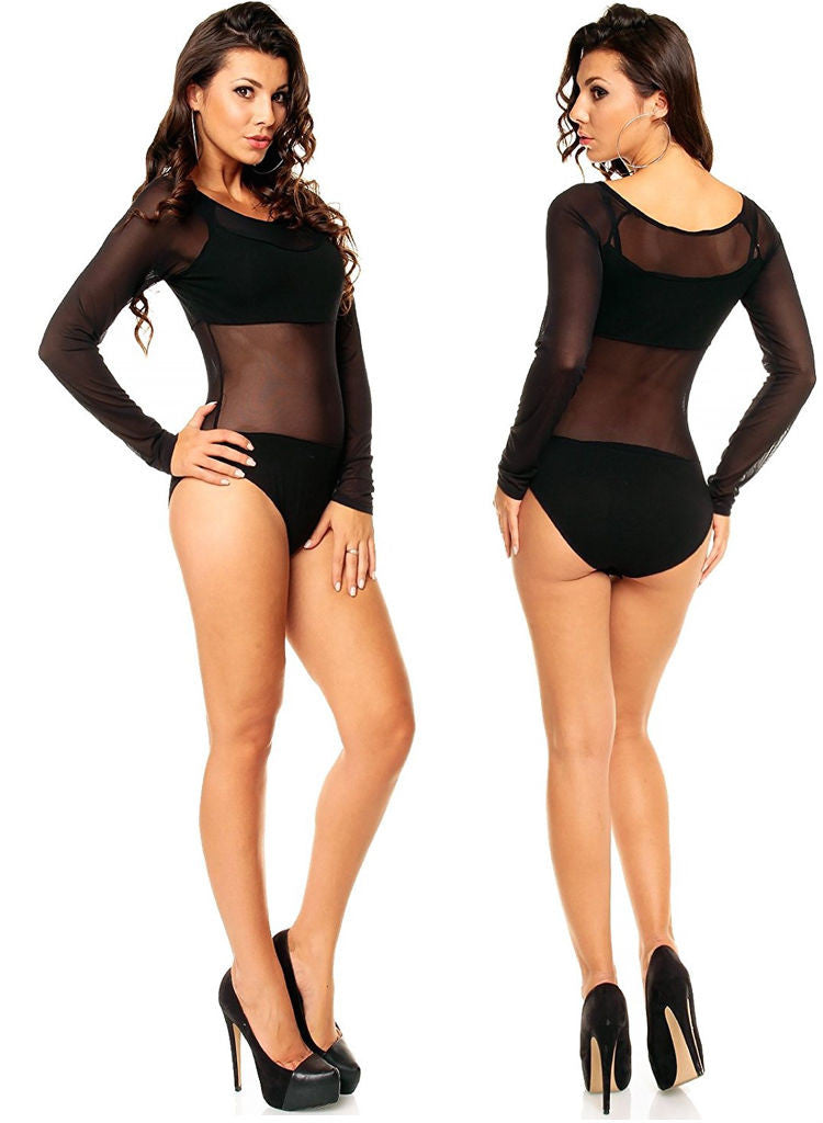 Black club wear stretch Body Teddy One size fits UK 8/10/12/14 -  Urban Direct Women's clothing